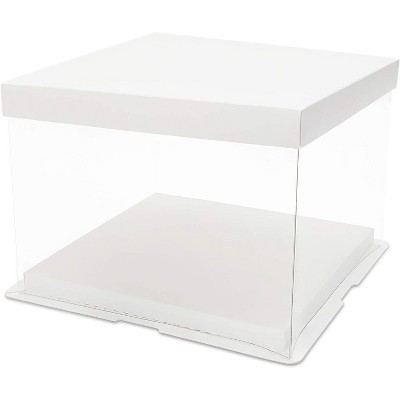"""Juvale 6-Pack Clear Plastic Cake Box Carrier Take Out Containers with Lid for Pastry Bakery Cupcake Dessert 8.6""""x8.6""""x6.3"""""""