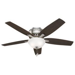 "52"" Newsome Brushed Nickel Ceiling Fan with Light - Hunter Fan"