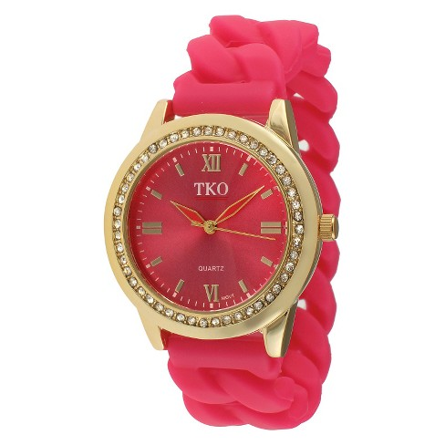 Women's TKO® Rubber Chain Crystal Bezel Watch - Gold/Pink - image 1 of 2