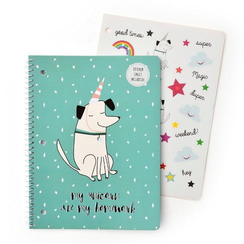 Spiral Notebook with Sticker Sheet 1 Subject College Ruled Blue Unicorn Dog - Gartner Studios - image 1 of 2