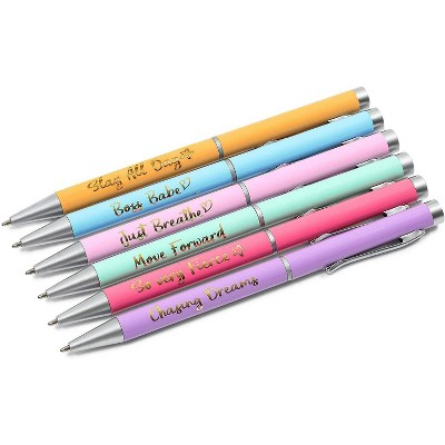 Paper Junkie 6-Pack Colorful Ballpoint Pens Gift Set with Motivational Quotes, 6 Designs (5.5 in)