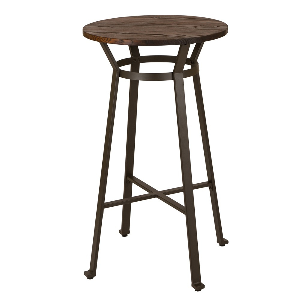 Rustic Steel Bar Table With Wood Top Tan - Glitzhome