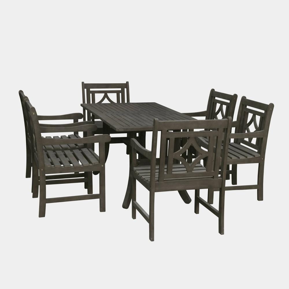 Renaissance 7pc Wood Curvy Outdoor Patio Dining Set - Gray - Vifah