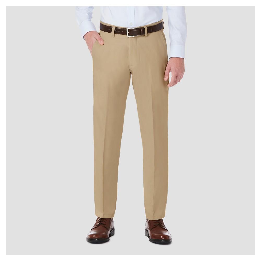 Haggar H26 Men's Performance 4 Way Stretch Straight Fit Trouser Pants - Khaki (Green) 34x30