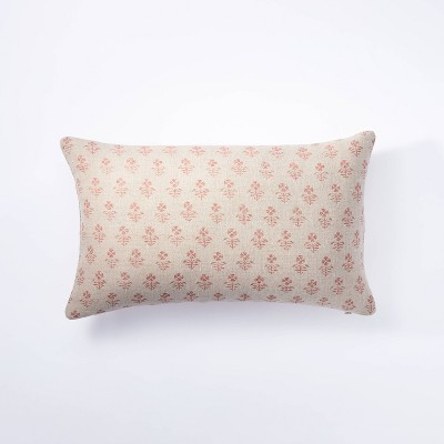 Lumbar Floral Block Print Pillow Neutral/Coral - Threshold™ designed with Studio McGee
