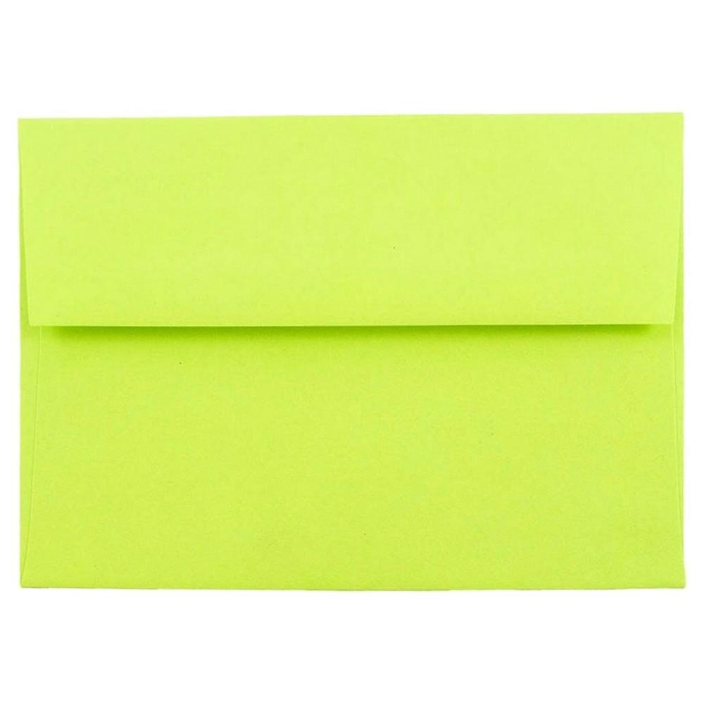Jam Paper Brite Hue A6 Envelopes, 4 3/4 x 6 1/2, 50 per pack, Ultra Lime, New Lime