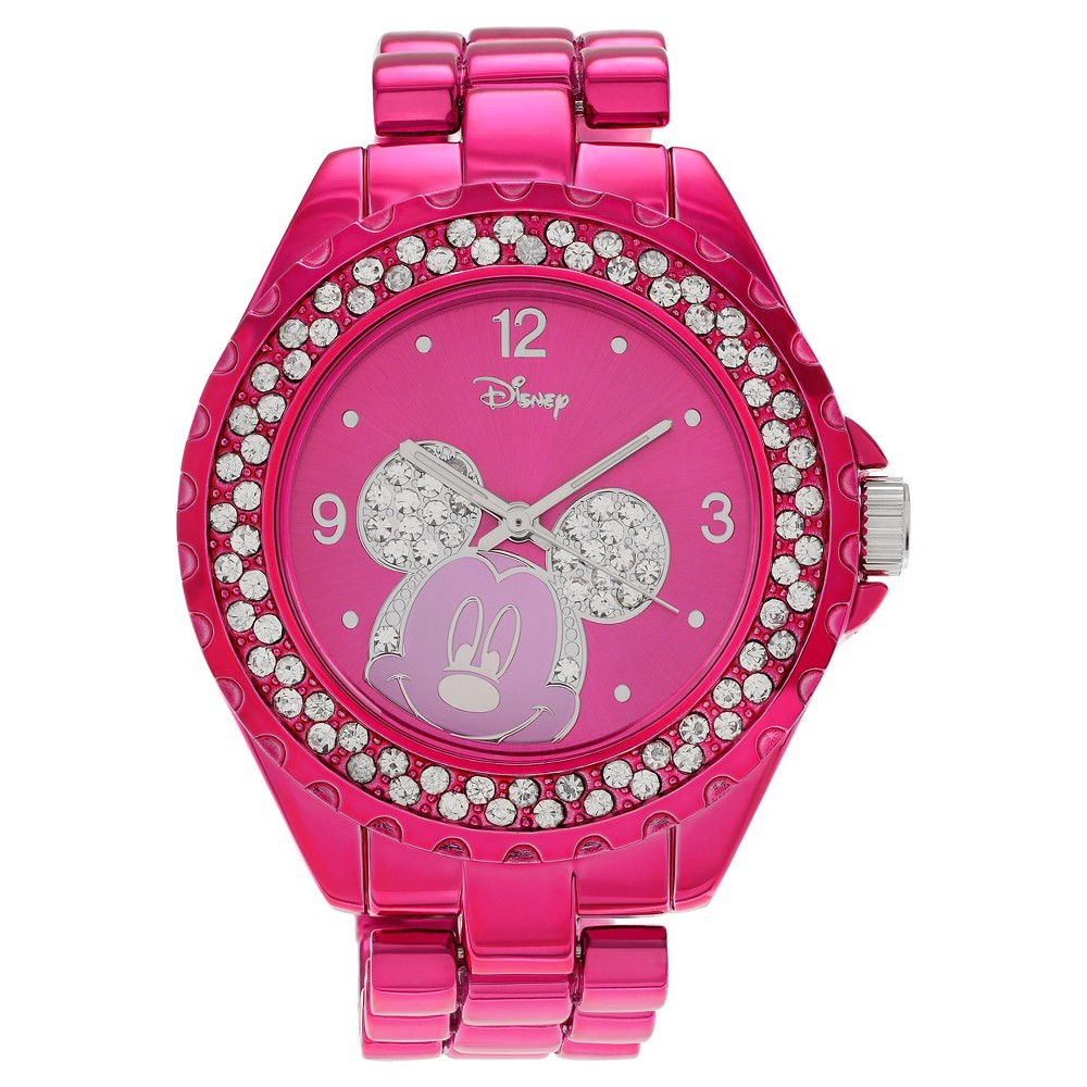 Women's Disney Mickey Mouse Dial Crystal Accent Bracelet Watch - Pink