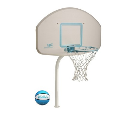 Dunn-Rite Deck Shoot In Ground Pool Basketball Hoop with Stainless Steel Rim, Durable Aluminum Pole, and Brass Anchor, White and Blue