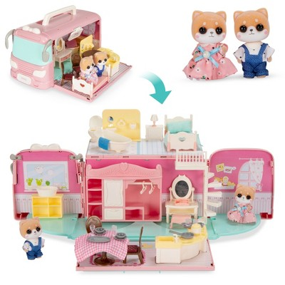 Best Choice Products Camper Van Playset Pretend Play Dollhouse Toy with 54 Accessories and Tiny Critters for Kids