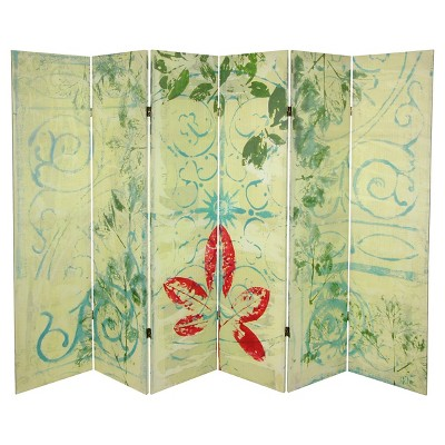5 1/4 ft. Garden Gate Canvas Room Divider 6 Panel - Oriental Furniture