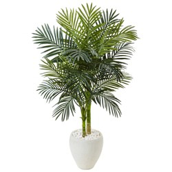 4.5ft Artificial Golden Cane Palm Tree in White Oval Planter - Nearly Natural