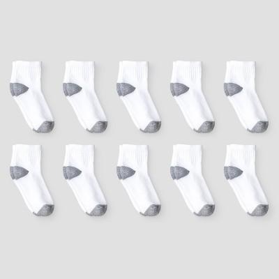 Boys' 10pk Athletic Ankle Socks - Cat & Jack™ White