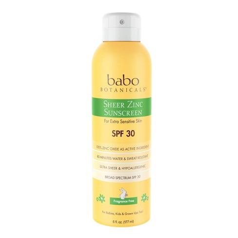 Babo Botanicals Sheer Zinc Sunscreen Spray Fragrance - SPF 30 - 6.0oz - image 1 of 4