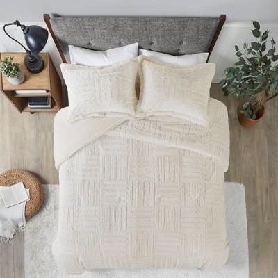 Ivory Polar Brushed Faux Fur Comforter Mini Set Full/Queen 3pc