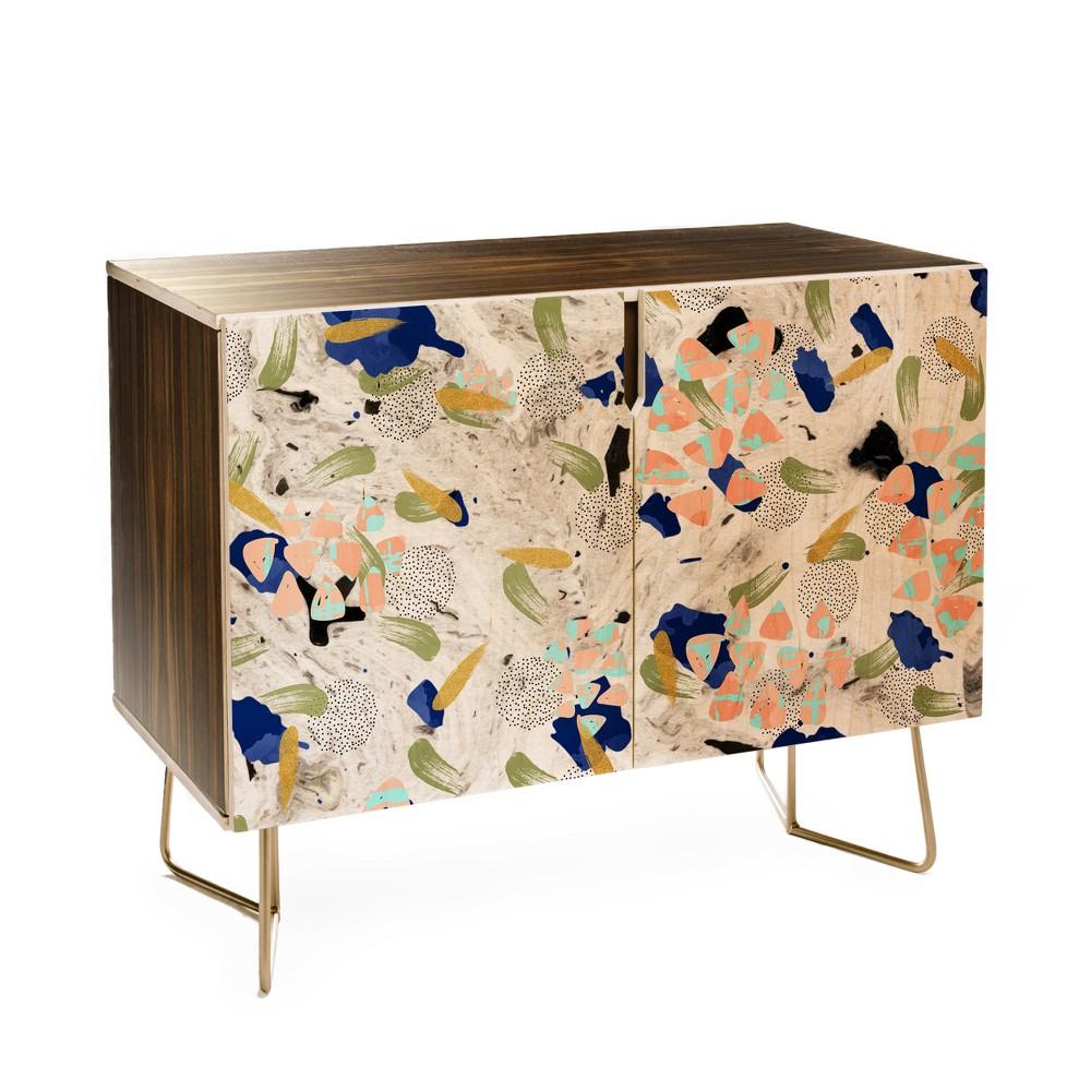 Marta Barragan Camarasa Abstract Shapes Credenza Gold - Deny Designs