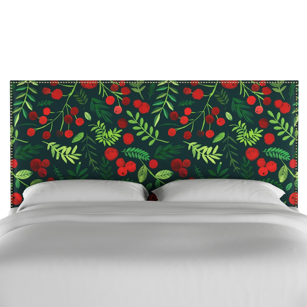Queen Arcadia Nailbutton Patterned Headboard Holly Evergreen Skyline Furniture