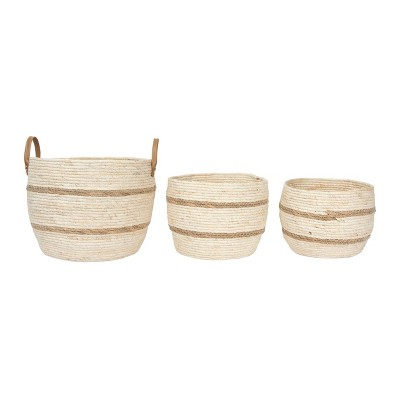 Set of 3 Maize Baskets with Leather Handle Beige & Brown - 3R Studios