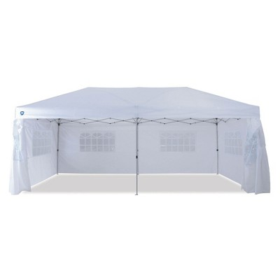 Z-Shade 20 x 10 Foot Everest Lawn, Garden, and Event Outdoor Ez Pop-Up Canopy Gazebo Portable Shelter Tent with Windowed Sidewalls