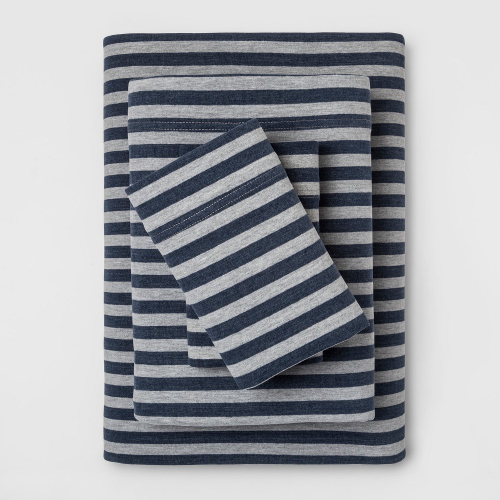 Twin Stripe Cosy Jersey Sheet Set Navy/Gray (Blue/Gray) - Threshold