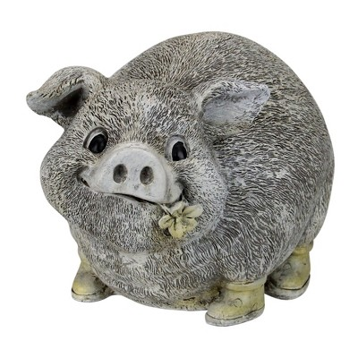 "Roman 6"" Gray and Yellow Outdoor Pig in Rain Boots Garden Statue"