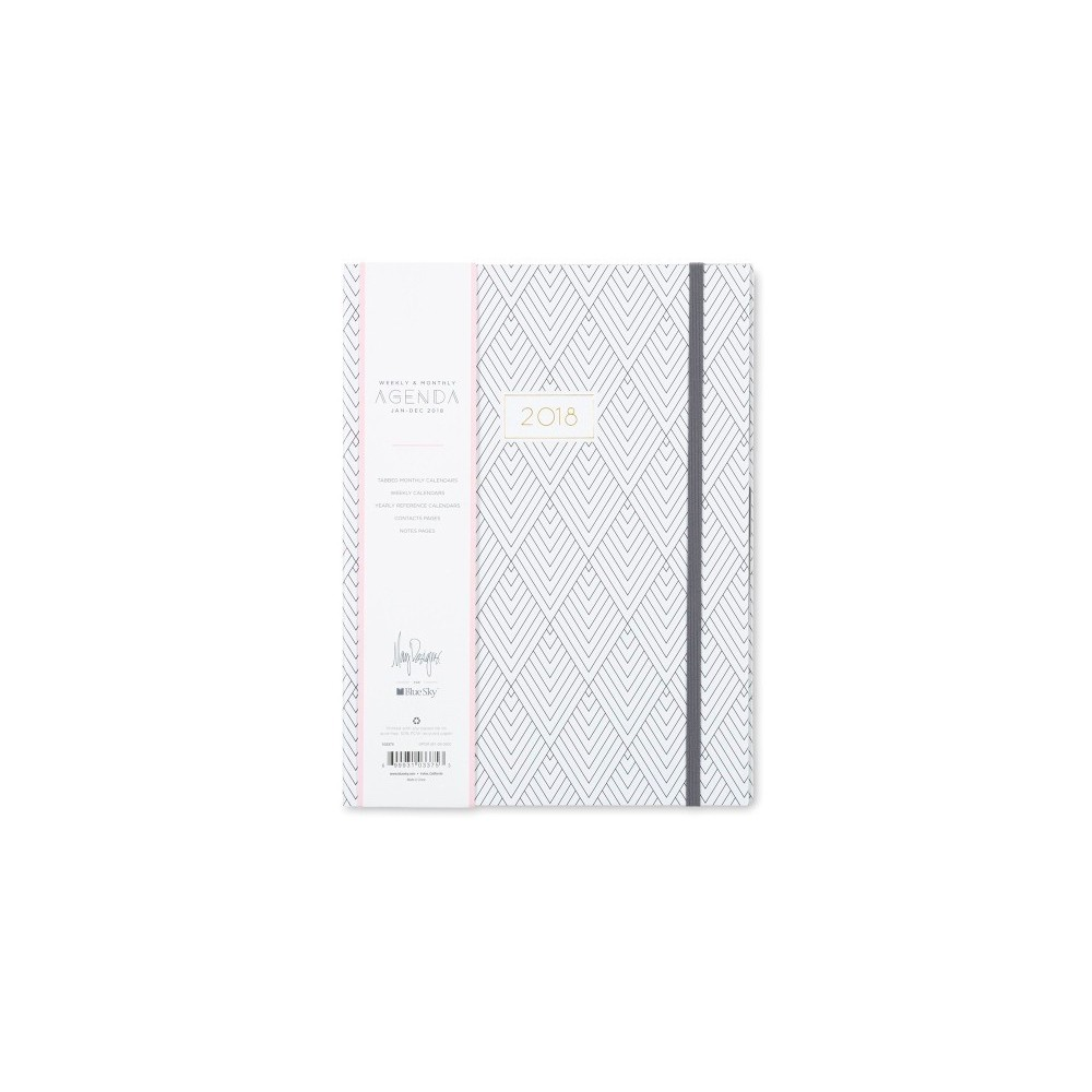 2018 May Designs Planner Weekly Monthly Medium Hardcover With Bungee - Deco Diamond