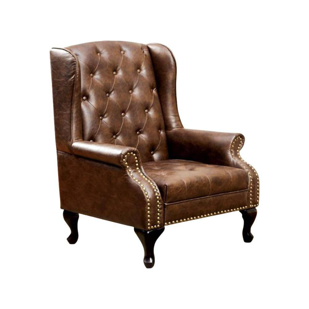 Vaugh Traditional Wing Accent Chair Chocolate (Brown) - Benzara