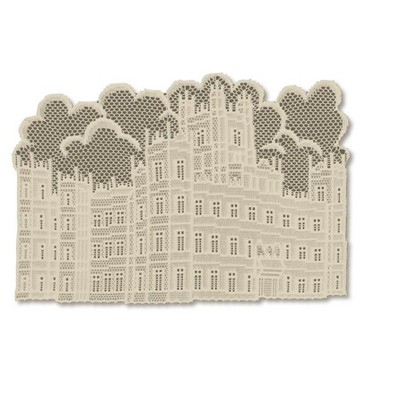 """Heritage Lace 14"""" x 20"""" Downton Abbey British Highclere Castle Table Placemats 4pc - Beige"""