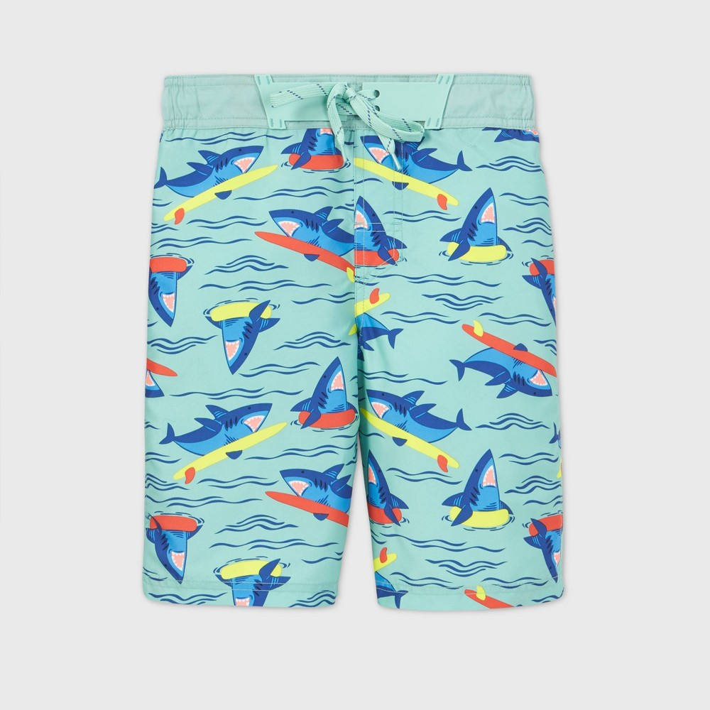 Boys 39 Surfing Shark Print Swim Trunks Cat 38 Jack 8482 Aqua Xl