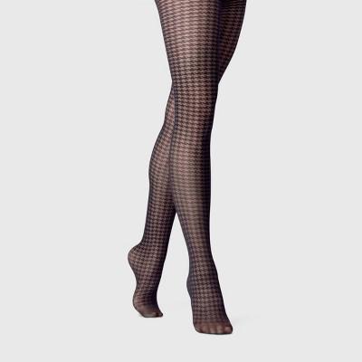 Women's Plus Size Sheer Polka Dot Tights - A New Day™ Black 1X-2X