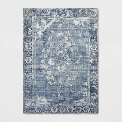 5'X7' Distressed Floral Medallion Area Rug Blue - Threshold™