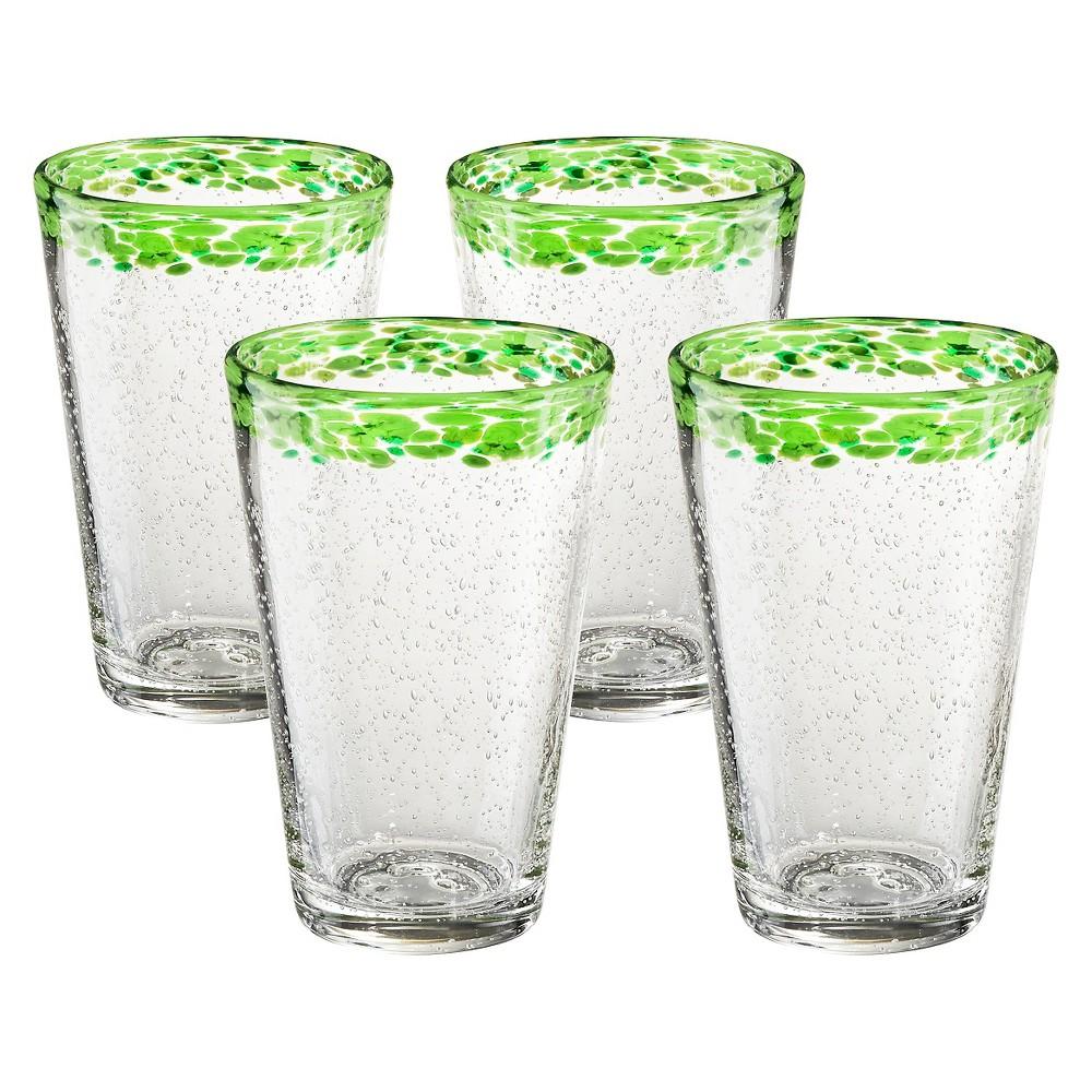 Image of 18oz 4pk Glass Green Rim Mingle Tumblers - Artland, White/Green