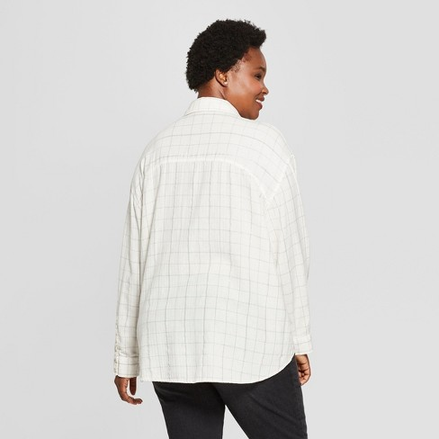5df0edd766e Women s Plus Size Plaid Long Sleeve Popover Flannel Button-Down Shirt - Universal  Thread™ White   Target