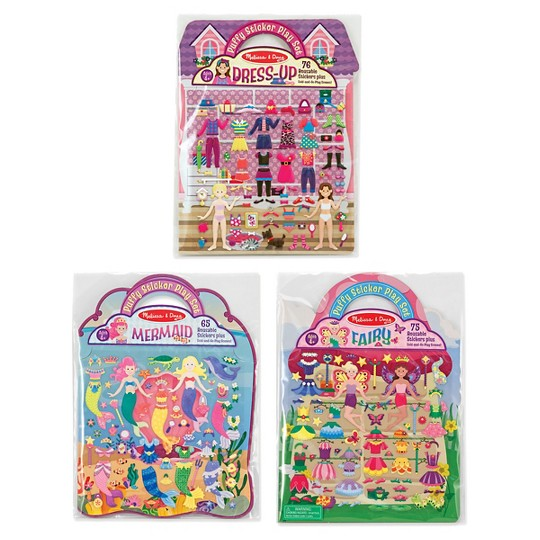 Melissa & Doug Puffy Sticker Pads Set: Fairy, Dress-Up, and Mermaid - 216 Reusable Stickers image number null