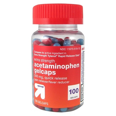 Acetaminophen Extra Strength Pain Reliever + Fever Reducer Quick Release Gelcaps - 100ct - Up&Up™