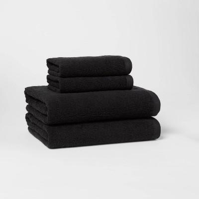 4pc Bath Towel/Hand Towel Set Black - Room Essentials™