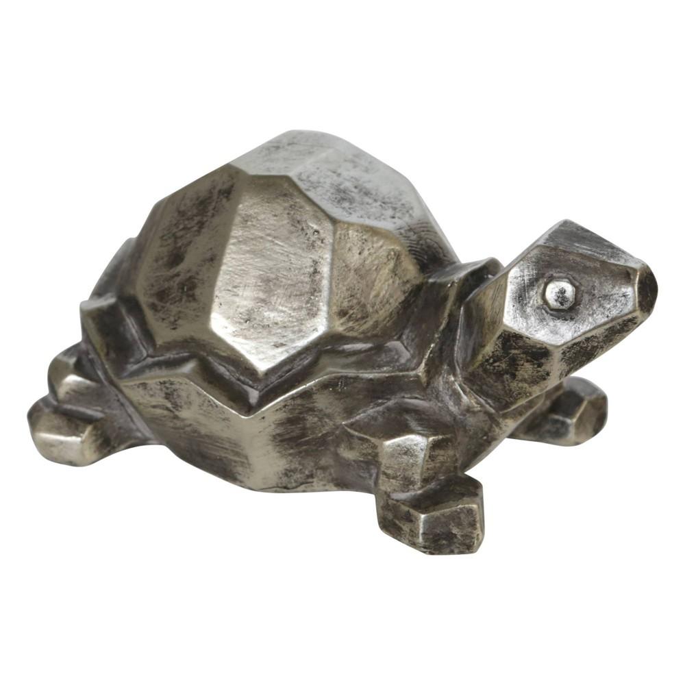 4 34 Polyresin Turtle Figurine Silver Sagebrook Home