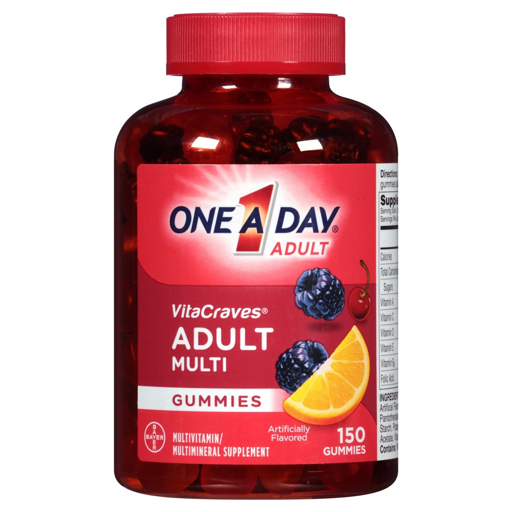 One A Day Vitacraves Multivitamin Gummies - Orange, Cherry & Berry - 150ct One A Day VitaCraves Adult Multivitamin Gummies offers a wide variety of key benefits in a convenient, easy to chew gummy. One A Day VitaCraves Adult is a complete multivitamin with 11 key nutrients for nutritional support. This daily multivitamin contains key nutrients like Vitamins A, B12, B6, C, D, E, Folic Acid, Biotin, and Pantothenic Acid. Vitamins and minerals are essential nutrients that play a critical role in overall health. One A Day VitaCraves Adult Multivitamin Gummies is formulated to support: immune health, eye health, and physical energy by helping convert food to fuel.* Adults and children 12 years of age and older should chew two gummies daily. One A Day Multivitamins can provide nutritional support that you and your family may need at every life stage. *This statement has not been evaluated by the Food and Drug Administration. This product is not intended to diagnose, treat, cure, or prevent any disease Size: 100 Count. Gender: Unisex.