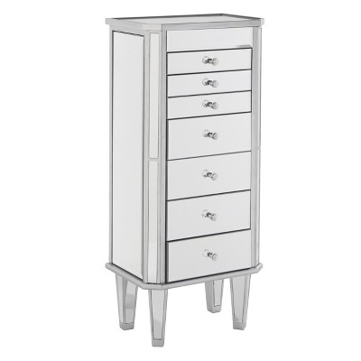 Melanie 7 Drawer Glam Jewelry Armoire Mirrored/Brushed - Aiden Lane