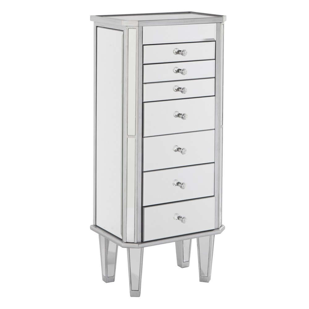 Melanie 7 Drawer Glam Jewelry Armoire, Matte Silver