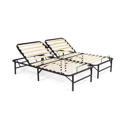 Full Wooden Slat Adjustable Head Only Bed Base Black - PragmaBed