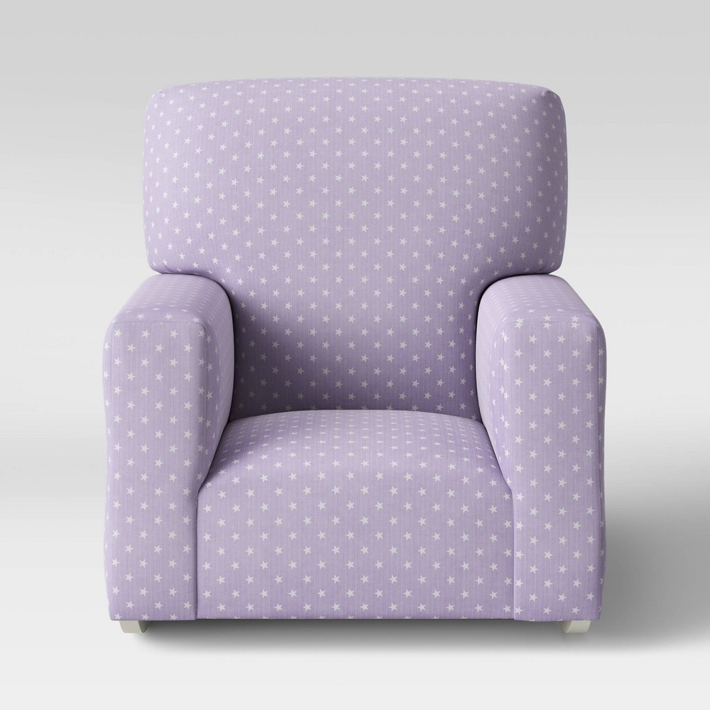 Image of Kids' Upholstered Rocking Armchair Stars Violet/White - Pillowfort