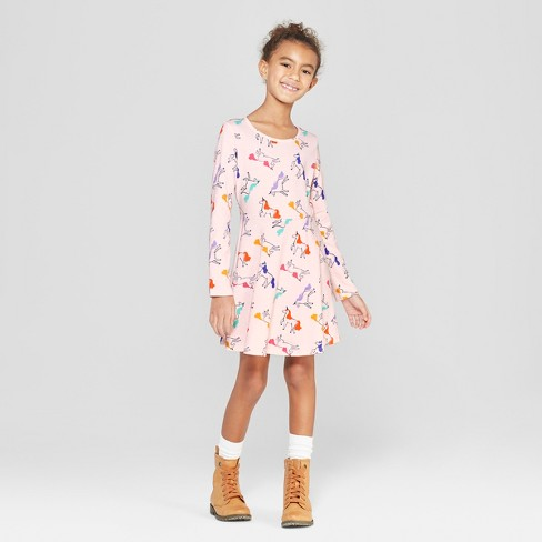 0c0eaee7b1e Girls  Long Sleeve Unicorn Print A Line Dress - Cat   Jack™ Pink   Target