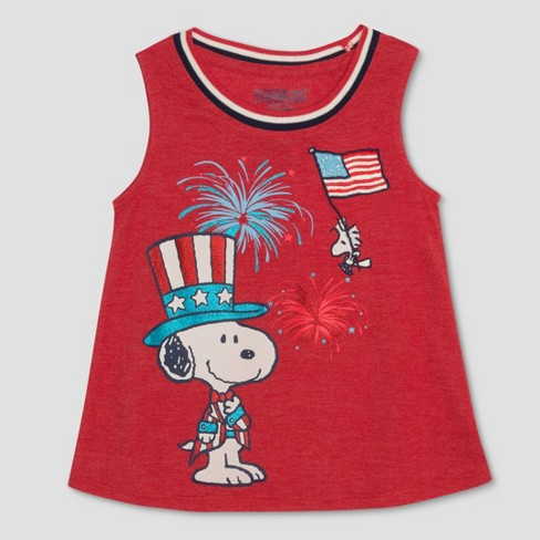 Toddler Girls' Peanuts Fireworks Tank Top - Red - image 1 of 2