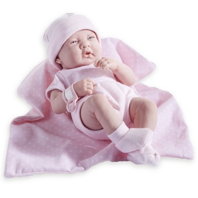 "JC Toys La Newborn 14"" Girl Baby Doll 9pc Set - Pink Romper"