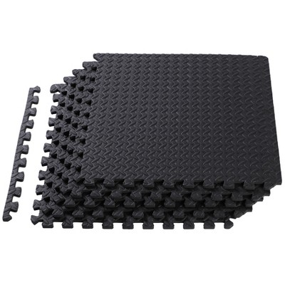 HolaHatha 24 Square Foot EVA Foam Padded Shock Absorbing Water Resistant Puzzle Exercise Gym Equipment Interlocking Floor Mat Tiles, Gray