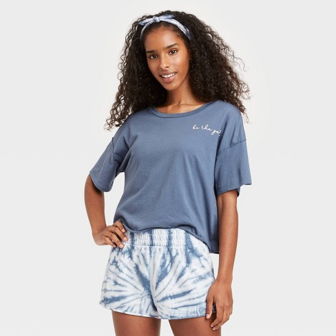 Women's Tie-Dye 'Be the Good' T-Shirt and Shorts Pajama Set with Bandana - Grayson Threads Blue - image 1 of 2