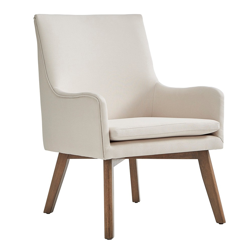 Inspire Q Set of 2 Loka Mid Century Wood Base Accent Chairs Linen Oatmeal Brown