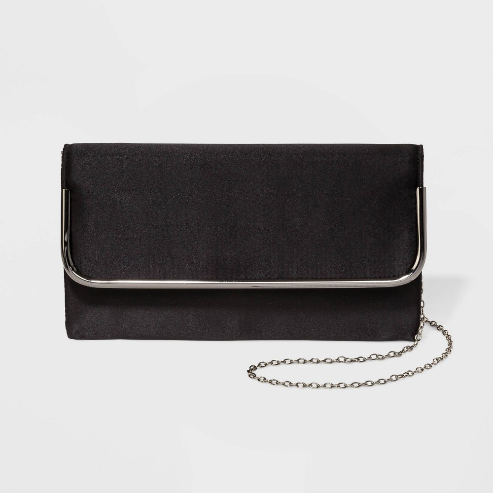 Image of Estee & Lilly Satin Curved Metal Flap Bar Clutch - Black, Women's
