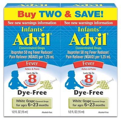Infants' Advil Dye-Free Fever Reducer/Pain Reliever Drops - Ibuprofen (NSAID)- White Grape - 0.5 fl oz/2pk