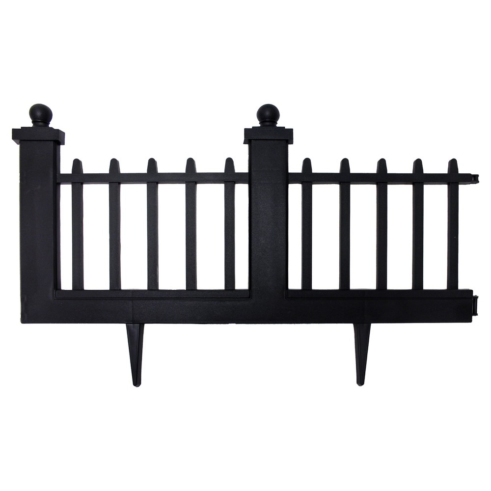 "Image of ""15.5"""" Deluxe Wrought Iron Fence Border - 10 Pc - Black - Emsco"""